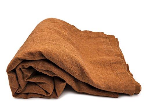 JOWOLLINA Bettüberwurf Plaid Rasa 100% Leinen Stonewashed Zimt-Ocker, 250x280 cm