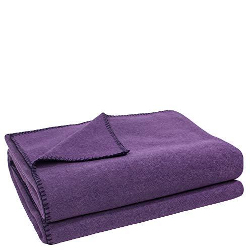 Soft-Fleece-Decke – Polarfleece-Decke mit Häkelstich – flauschige Kuscheldecke – 160x200 cm