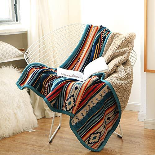 Qucover Kuscheldecke Wohndecke 150x200cm Bunte Streifen - zweiseitige Decke Cashmeer Gefühl Fleecedecke