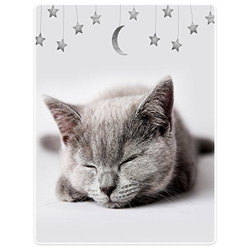 YISUMEI Decke 150x200 cm Kuscheldecken Kätzchen Schlaf Star Mond Sanft - Flanell Weich Fleecedecke