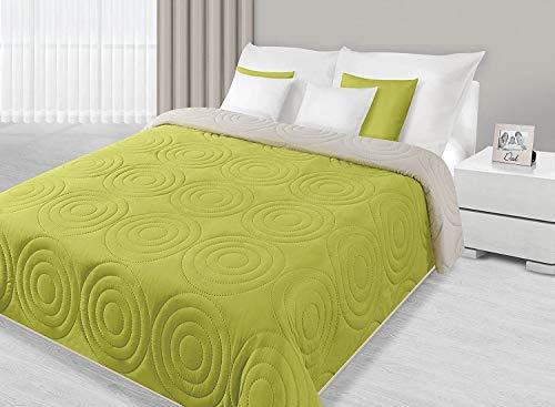 DecoKing 220x240 Bettüberwurf Alisa zweiseitig Tagesdecke hellgrün grün Limette pistaziengrün