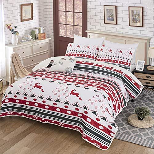 WONGS BEDDING Tagesdecke Weihnachten Elch Streifen Steppdecke Bettüberwurf 220x240 cm Gesteppte Decke mit 2*Kissenbezüge