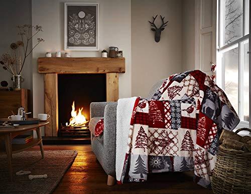 Happy Linen Company Sofadecke weihnachtlich Patchwork-Design - Sherpa-Fleece - Rot 150 x 200 cm