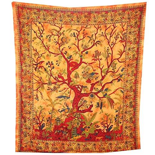 Tagesdecke Indisch Lebensbaum orange 230x205cm Baumwolle Tie Dye Style
