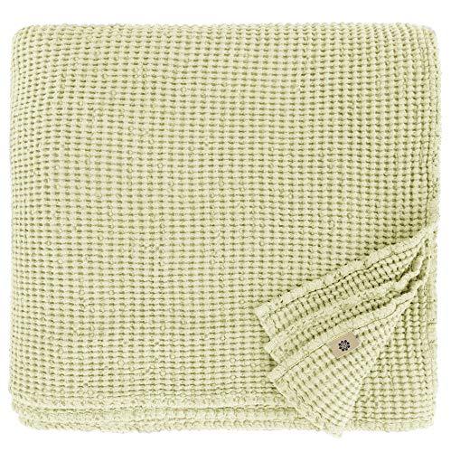 Linen & Cotton Plaid Decke Sommer Tagesdecke Waffelpique Enzo - 48% Leinen, 52% Baumwolle, Beige 180 x 230 cm