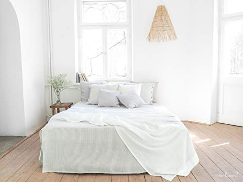 Weiß Sommer Leinen Decke. Queen Size, King Size Tagesdecke. Leinendecke