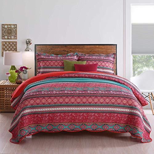 Qucover Übergröße Tagesdecke 250x270 cm Boho Stil, Bettüberwurf 240 x 260 cm Bunte Steppdecke Patchwork Stil, mit Kissen Set