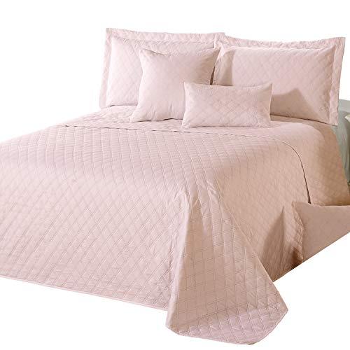 Delindo Lifestyle Tagesdecke Bettüberwurf Premium ROSA für Doppelbett einfarbig 220x240 cm