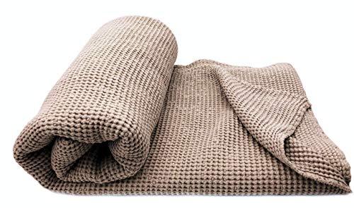 JOWOLLINA XXL Waffelpique Bettüberwurf Plaid - Leinen und Baumwolle - 230x240 cm Sand