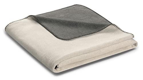 biederlack® samtig-weiche Kuschel-Decke Baumwolle Double Optic Wendedecke hellgrau-grau - Made in Germany - 150x200 cm - Öko-Tex Zertifiziert