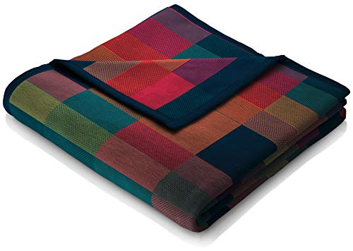 """biederlack® flauschig-weiche Kuschel-Decke Baumwolle - Made in Germany - """"Color Squares Blue"""" aus Baumwolle in grün-blau - 150x200cm"""