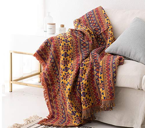 luofanfei Tagesdecke Wohndecke Baumwolle Boho Stil - Zweiseitig Unterschiedliches Muster - 90X210 cm Gelb Rot Blau