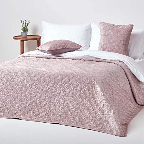 Homescapes Gesteppte Samt-Tagesdecke, Altrosa, klassischer Bettüberwurf mit geometrischem Kreis-Muster, Ewigkeitsringe, rosa, 250 x 260 cm