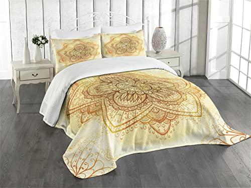 ABAKUHAUS orientalisch Tagesdecke Set, Mandala, mit Kissenbezug - für Einzelbetten 170 x 220 cm