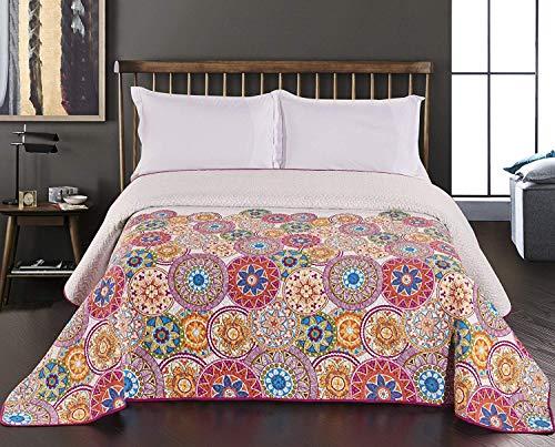 DecoKing 77184 Tagesdecke 240 x 260 cm rosa violett weiß bunt anthrazit Bettüberwurf zweiseitig