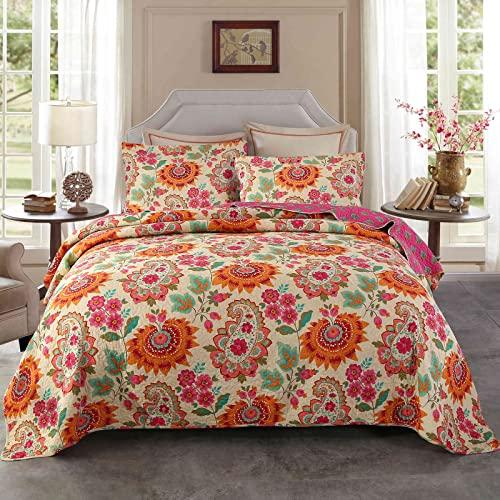 Qucover Tagesdecke Vintage Stil Baumwolle Bettüberwurf Doppelbett mit Paisley Sonnenblume Gesteppt