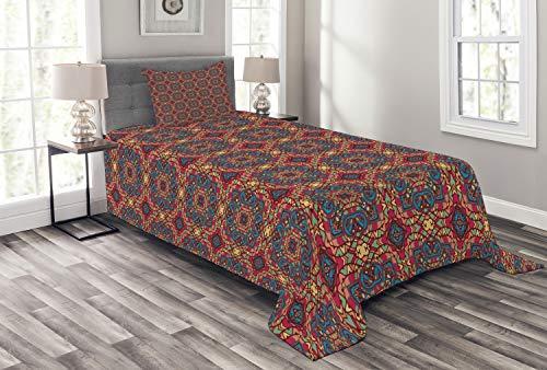 ABAKUHAUS Ottomane Tagesdecke Set Arabesque Orient mit Kissenbezügen Sommerdecke für Einzelbetten 170 x 220 cm Mehrfarbig