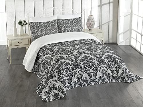 ABAKUHAUS Barock- Tagesdecke Set Vintage Spitze-Art mit Kissenbezügen für Einzelbetten 170 x 220 cm Weiß und Schwarz