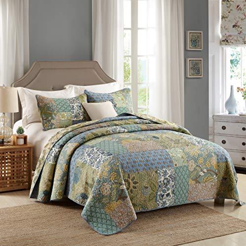 Qucover Baumwolle Tagesdecke Shabby chic 230 x 230 cm Patchwork Steppdecke mit Kissenbezug Bettüberwurf