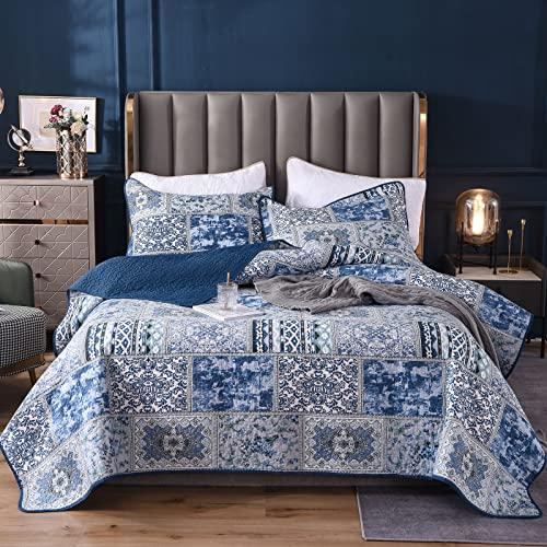Qucover Tagesdecke Shabby chic - Vintage Stil - Patchwork 220x240cm, Blau Bettüberwurf für Doppelbett , Gesteppt- mit Kissen Set
