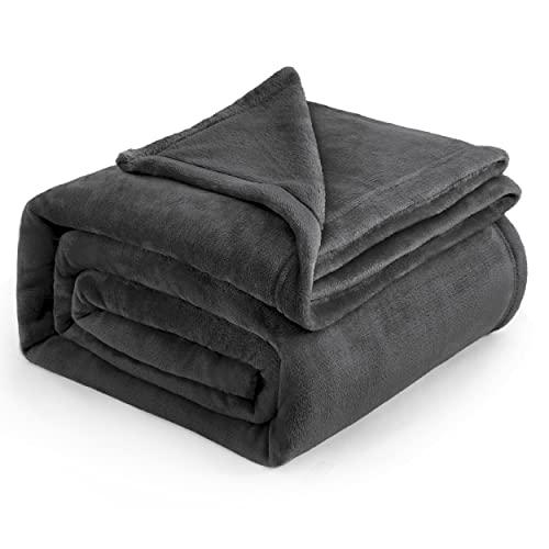 Bedsure Kuscheldecke Sofaüberwurf Dunkelgrau große weiche& warme Fleecedecke