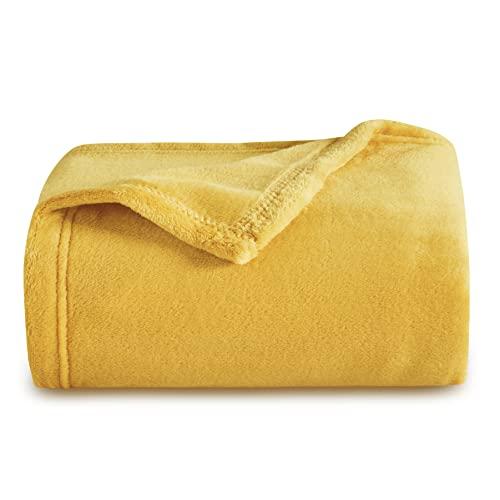 Bedsure Kuscheldecke Gelb kleine Sofadecke weiche& warme Fleecedecke