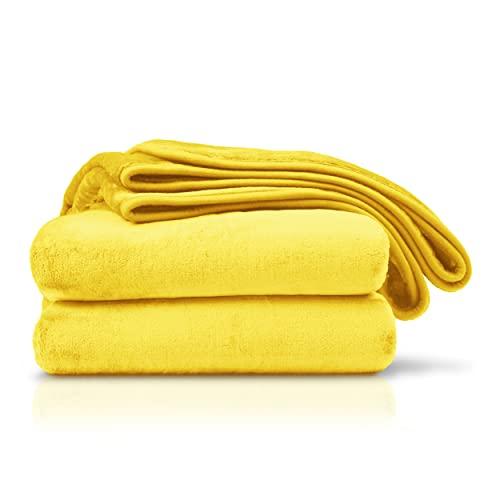 Amago Wohn- und Kuscheldecke Cashmere-Feeling Gelb/Orange