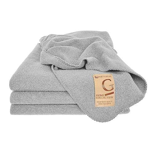 GIESSWEIN Wolldecke Marie - Waschbare Decke aus 100% Lammwolle Schurwolle