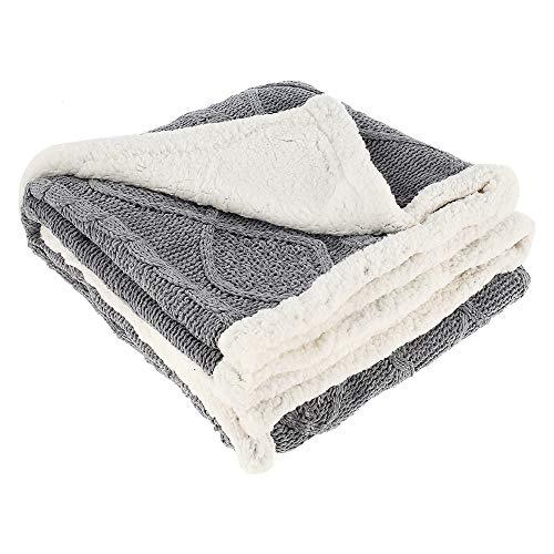 ODOMY Decke hochwertige Wohndecke Kuscheldecke, extra dick, warm -zweiseitig Fleecedecke Sofadecke