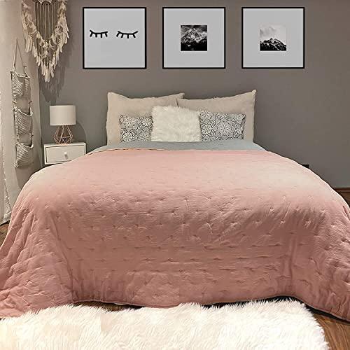 HOMELEVEL Tagesdecke Bett & Sofaüberwurf 220cm x 200cm Bettüberwurf Altrose/Grau Punktsteppung