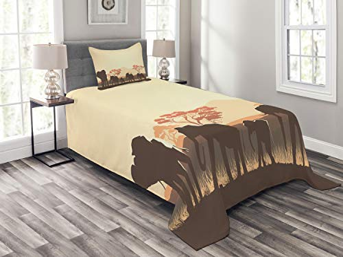 ABAKUHAUS Afrika Tagesdecke Set - Safari-Tierelefant, 170 x 220 cm, Hellgelb Braun