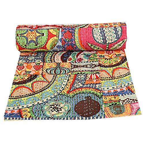 indischen Patch Work Tagesdecken Baumwolle Kantha Quilt Queen Überwurf Decke (Multi Floral) Bohemian Tagesdecke, handgefertigt kantha Steppdecke