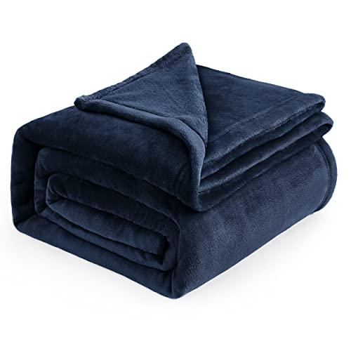 Bedsure Kuscheldecke Blau XXL Decke Sofa - weiche& warme Fleecedecke