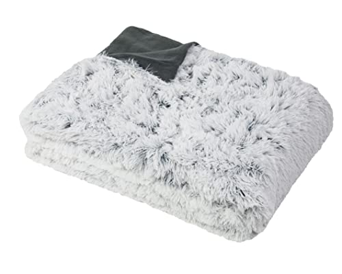 ZOLLNER Kuscheldecke 150x200 cm grau-weiß, Felloptik