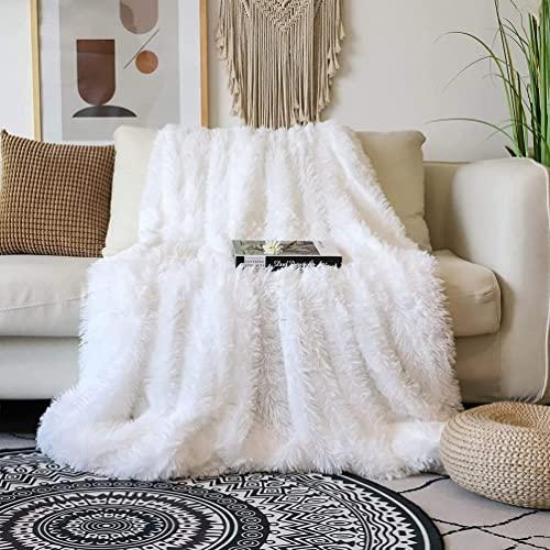Arkey Zotteldecke aus Kunstfell, Fleece Tagesdecke, weiß, 160 x 200 cm