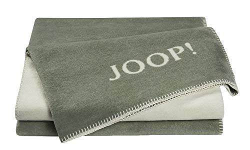 Joop!® Uni-Doubleface I flauschig-weiche Kuscheldecke Salbei-Ecru I grün I Tagesdecke 150x200cm