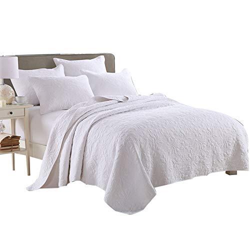 Qucover Weiße Tagesdecke Gesteppte Sommerdecke mit Kissen Set Bettüberwurf Doppelbett 230x250cm