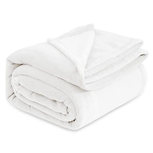 Bedsure Kuscheldecke Weiß XXL Decke Sofa, weiche& warme Fleecedecke Wohndecken Kuscheldecken, 220x240 cm