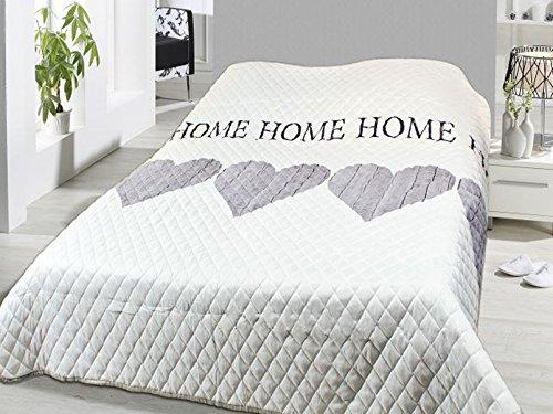 Fashion&Joy XL Bettüberwurf Herzen Tagesdecke gesteppt 220x240 Home weiß grau