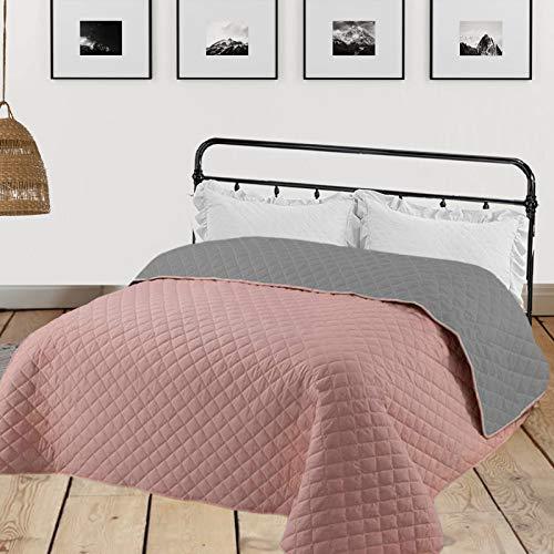 HOMELEVEL Tagesdecke Bettüberwurf 220cm x 200cm Altrose/Grau