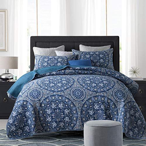 Qucover Blaue Tagesdecke Set mit Kissen 220x240cm aus Baumwolle Mandala Muster Blau Gesteppt