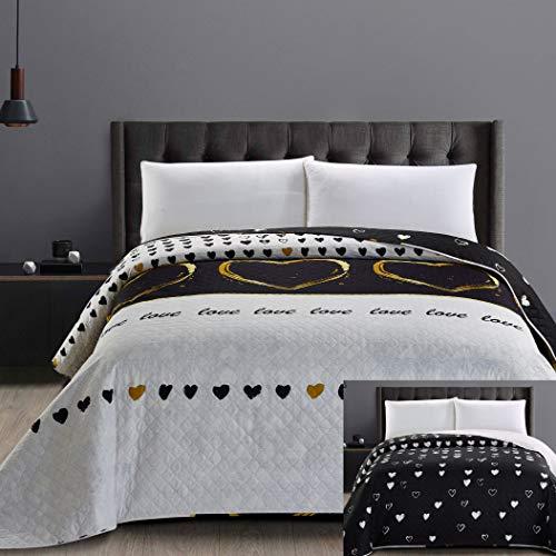 DecoKing 32534 Tagesdecke 200x220 cm Bettüberwurf Steppung zweiseitig schwarz weiß golden Herzen Love