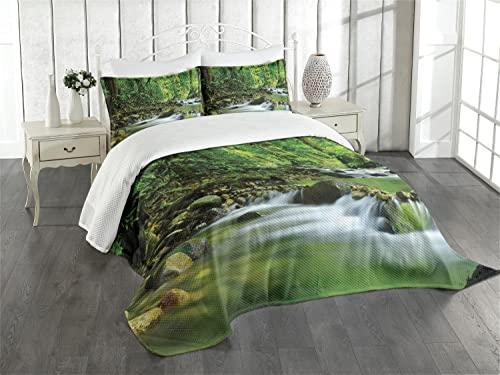 ABAKUHAUS Regenwald Tagesdecke Set, mit Kissenbezug 170 x 220 cm, Grün braun