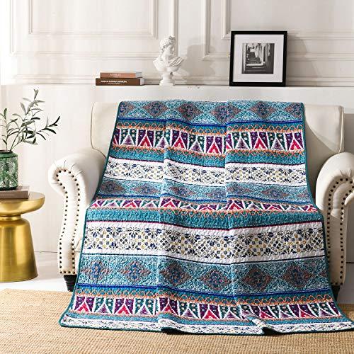 Qucover Böhmische Tagesdecke 150x200 cm, für Einzelbett, Gesteppte Decke - Indische Blau 140x200 cm