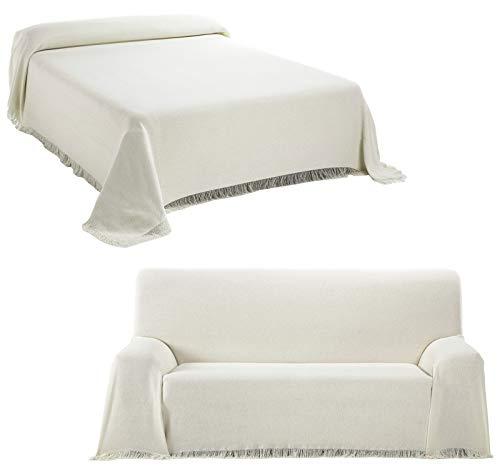 Staboos Tagesdecke - Hochwertiger Bettüberwurf in Natur, 180 x 260 cm Praktischer Überwurf als Sofadecke oder Couchdecke - Bed Throw Blanket - Weiche Wohnzimmer Decke aus Baumwolle