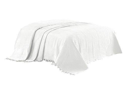 Class Home Collection Pique Tagesdecke | Bettüberwurf mit Fransen | Kuscheldecke 220x240 cm | Extra große Wohndecke | Sofadecke 100% Baumwolle | Waffelpique | Uni Weiß