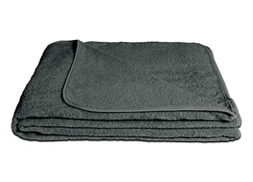KiGATEX Frotteedecke Sommerdecke softig weich 100% Baumwolle 150x200 cm Öko-Tex Zertifiziert (anthrazit)