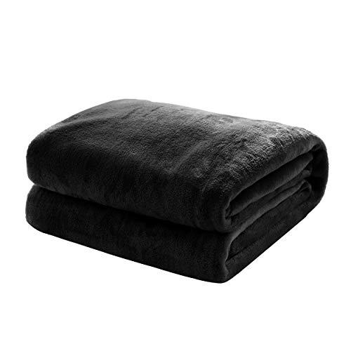 Mixibaby Kuscheldecke Flauschige extra weich & warm Wohndecke Flanell Fleecedecke, Falten beständig/Anti-verfärben als Sofadecke oder Bettüberwurf, Größe:220 cm x 240 cm, Farbe:Schwarz