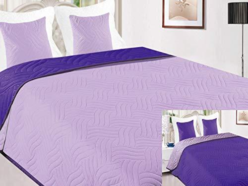 Euromat Zweiseitige Tagesdecke Bettüberwurf 3 TLG. 220x240 +2 Kissenbezüge Vigo Lila Violett Lavendel 11