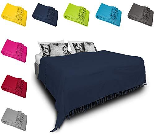 one-home Tagesdecke Bettüberwurf 220x240 cm Sofa Überwurf Bettdecke Doppelbett Baumwolle, Farbe:Blau